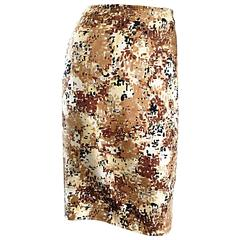 PRADA Fall 2001 Brown Cream Tan Silk ' Splatter ' Print High Waist Pencil Skirt