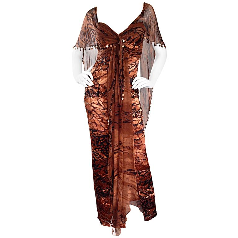 VINTAGE Diane Freis Silk Chiffon Rust + Brown Beaded Boho 1990s Dress Size 4 90s For Sale
