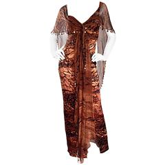 VINTAGE Diane Freis Silk Chiffon Rust + Brown Beaded Boho 1990s Dress Size 4 90s