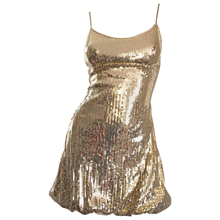 Sexy 1990s Vintage Gold Sequin 90s Mini Babydoll Dress Size XS - Small  1