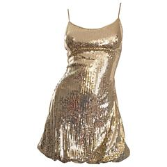 Sexy 1990s Vintage Gold Sequin 90s Mini Babydoll Dress Size XS - Small