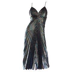 AMAZING 1970s Samir Rainbow Metallic Sexy Pleated Vintage Disco 70s Dress