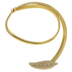 70s Leaf Buckle Gold Stretch Belt