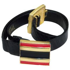 80s Alexis Kirk Black Snakeskin Blet with Red & Black Enamel Buckle