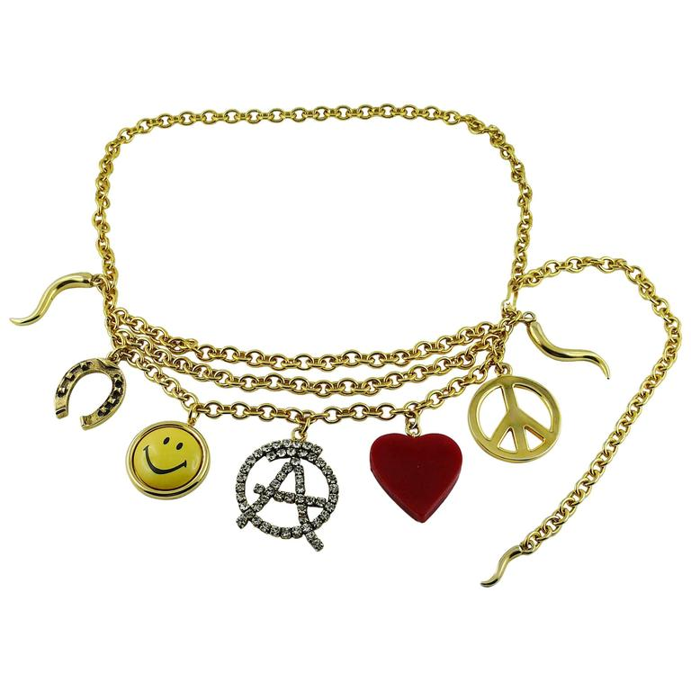 713c523af3f Moschino by Ugo Correani Vintage Rare Love, Peace, Smiley Charm Necklace/ Belt For