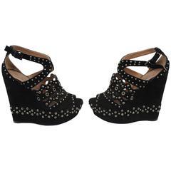 Azzedine Alaïa High Sandals in Black Suede. S. 36