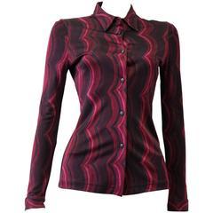 Unique Gianni Versace Istante Vertical Wave Pattern Shirt