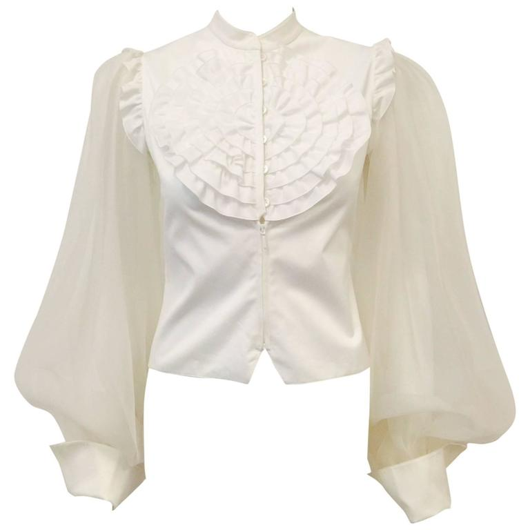Very Valentino Ivory Blouse With Voluminous Poet Sleeves and Ruffled Bodice For Sale