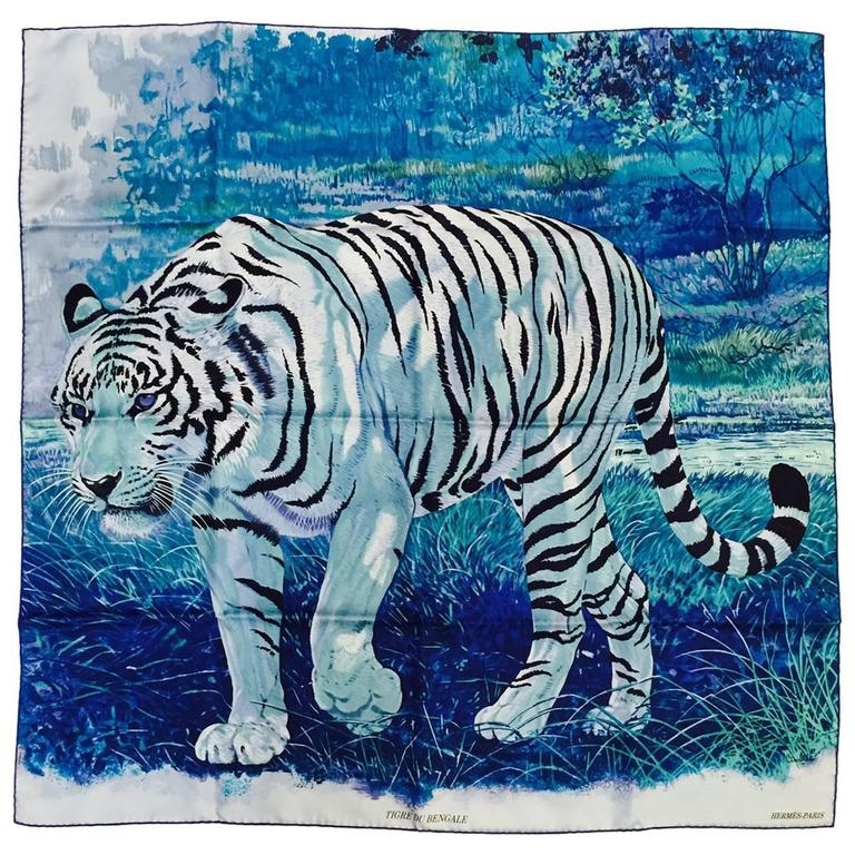 Hermes Blue Silk Twill Tigre du Bengale Carre by Robert Dallet Above Excellent For Sale