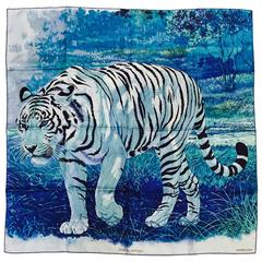 Hermes Blue Silk Twill Tigre du Bengale Carre by Robert Dallet Above Excellent