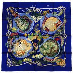Hermes Grand Fonds Royal Blue Carre by Annie Faivre Excellent Condition/Box