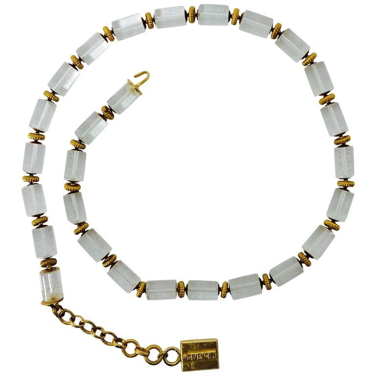 Vintage Givenchy Lucite & gold metal necklace or belt 1970s
