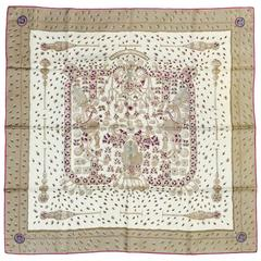 Hermes Tresors Retrouve Silk Twill Carre by Annie Faivre Above Excellent