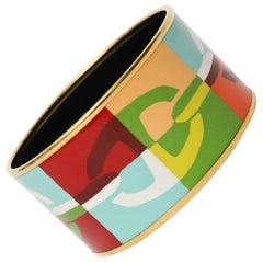 Hermes Enameled Wide Cuff Bracelet
