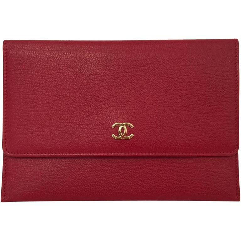 Chanel Deep Red Leather Pochette With Gold Tone Hardware Serial No 5546023 1