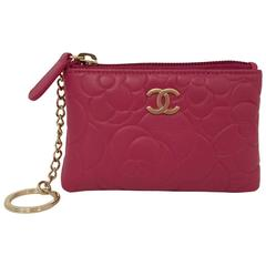 chanel key pouch. chanel fuchsia camellia stamped leather o-key holder with box serial no 16132442 key pouch