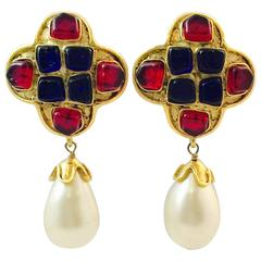 1994 Chanel Gripoix and Faux Pearl Drop Earrings
