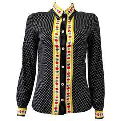Original Gianni Versace Polka Dot Floral Trim Shirt