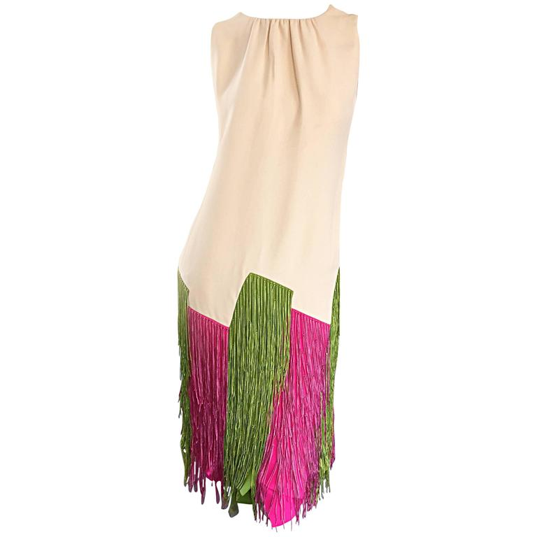 JEAN LOUIS Vintage I Magnin 1960s Rare Ivory Crepe Pink and Green Fringe Dress For Sale