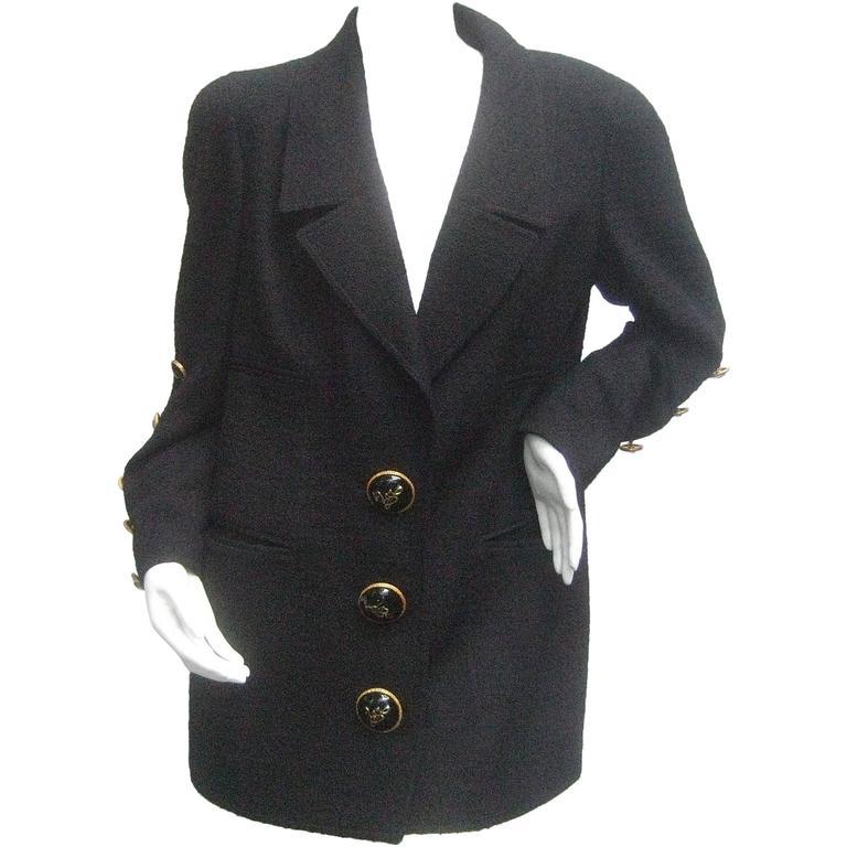 Liliane Romi Couture Paris Black Boucle Wool Jacket c 1990s For Sale