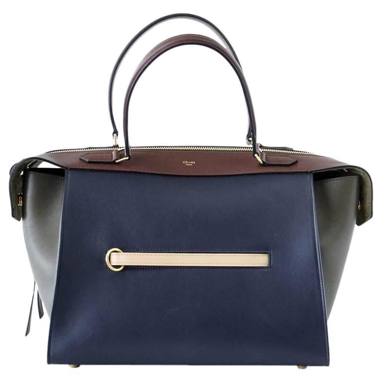 Celine Tri Colour Navy Brown Olive Small New Ring Bag For