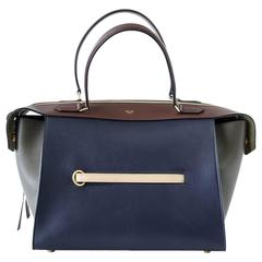 CELINE Ring Bag Tri Colour Navy Brown Olive Small New