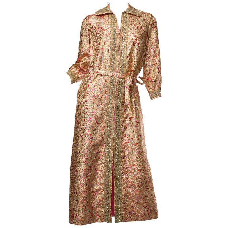 Late 1960s Gold Paisley Dress For Sale