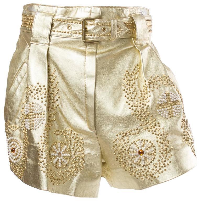 Jean Claude Jitrois Studded Gold Leather Shorts 1