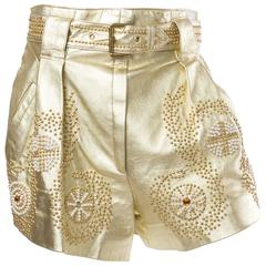 Jean Claude Jitrois Studded Gold Leather Shorts