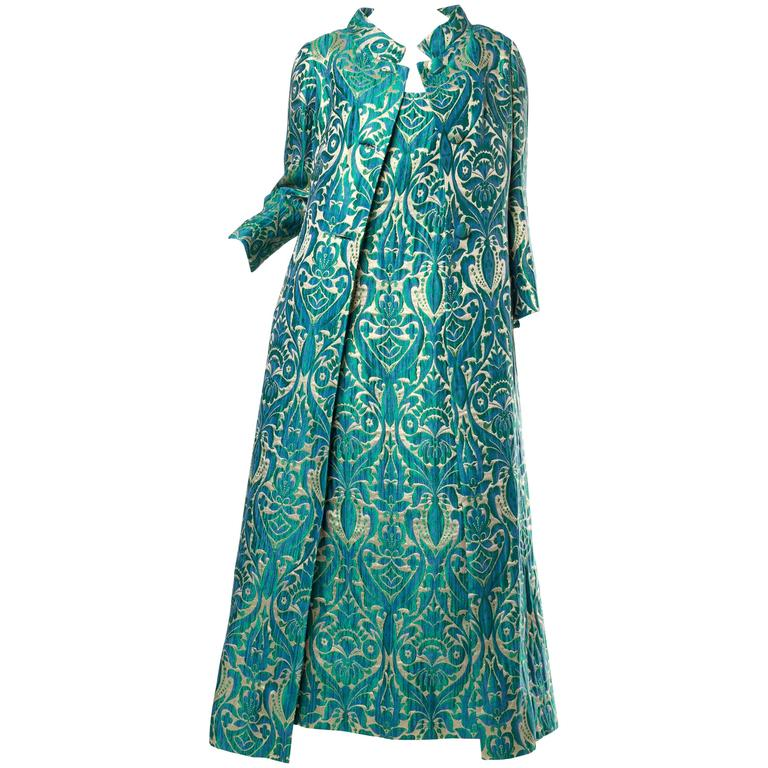 1960s Metallic Damask Gown and Opera Coat For Sale at 1stdibs