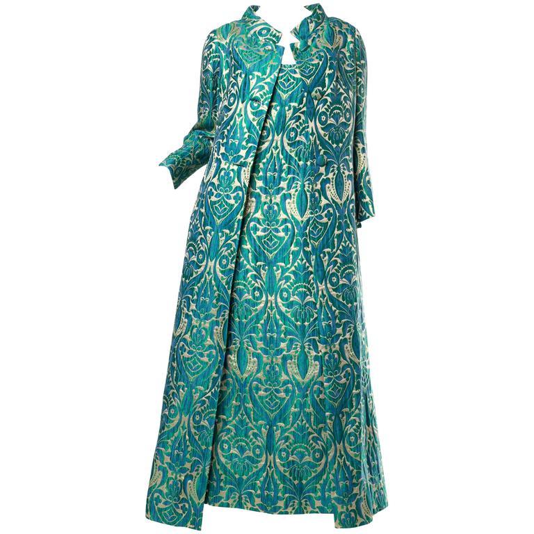 1960s Metallic Damask Gown & Opera Coat