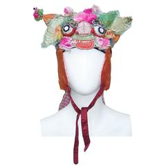 Vintage Whimsical Chinese Satin Dragon Hat With Metallic Embroidery