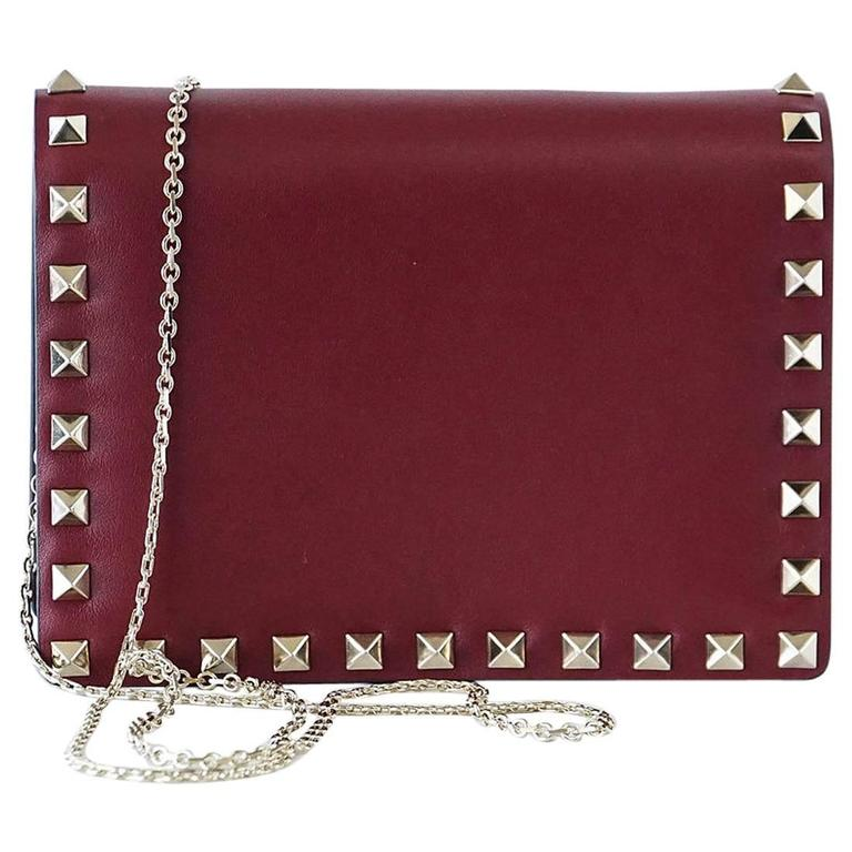 Valentino Bag Red Mini Rock Stud Clutch Cross Body Wallet on Chain New