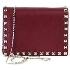 VALENTINO Garavani Bag Red Mini Rock Stud Clutch Cross Body Wallet on a Chain