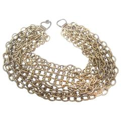 Bold Gilt Choker Chain Necklace Designed by R J Graziano