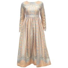 C.1970 Jeannene Booher Mughal Inspired Metallic Brocade Empire Waist Dress