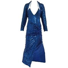 80s Norma Kamali blue sequins ensemble