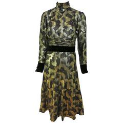 Valentino Night Black and Gold Lame Velvet Trim Dress