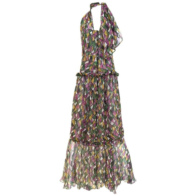 Vintage Yves Saint Laurent multi color silk halter print maxi cocktail dress For Sale