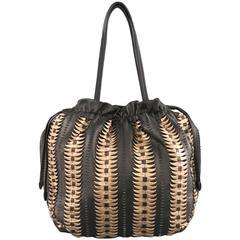ELIE TAHARI Black & Copper Woven Leather Drawstring Tote Bag