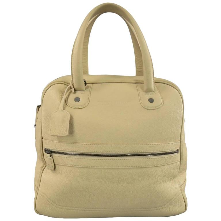 Giorgio Armani Beige Pebbled Leather Large Top Handles Lock Bag For Sale