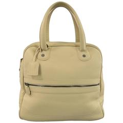 Giorgio Armani Beige Pebbled Leather Large Top Handles Lock Bag