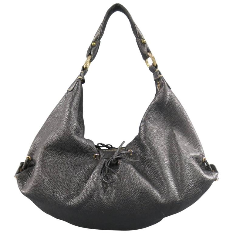 BOTTEGA VENETA Black Leather Gold Grommet Hoop Hobo Bag 1