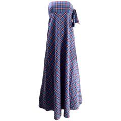 70s Anne Klein strapless plaid cotton maxi dress