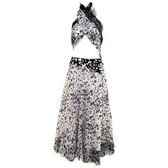 90s Geoffrey Beene silk shawl and skirt ensemble