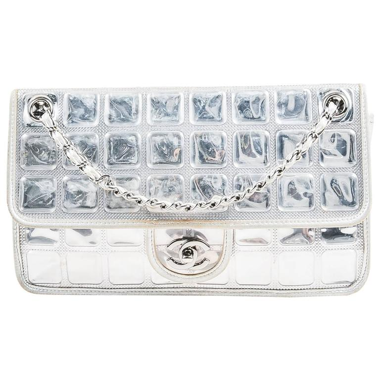 """Chanel Silver Metallic Leather Coated """"Ice Cube"""" Classic Flap Shoulder Bag 1"""