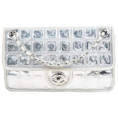"""Chanel Silver Metallic Leather Coated """"Ice Cube"""" Classic Flap Shoulder Bag"""