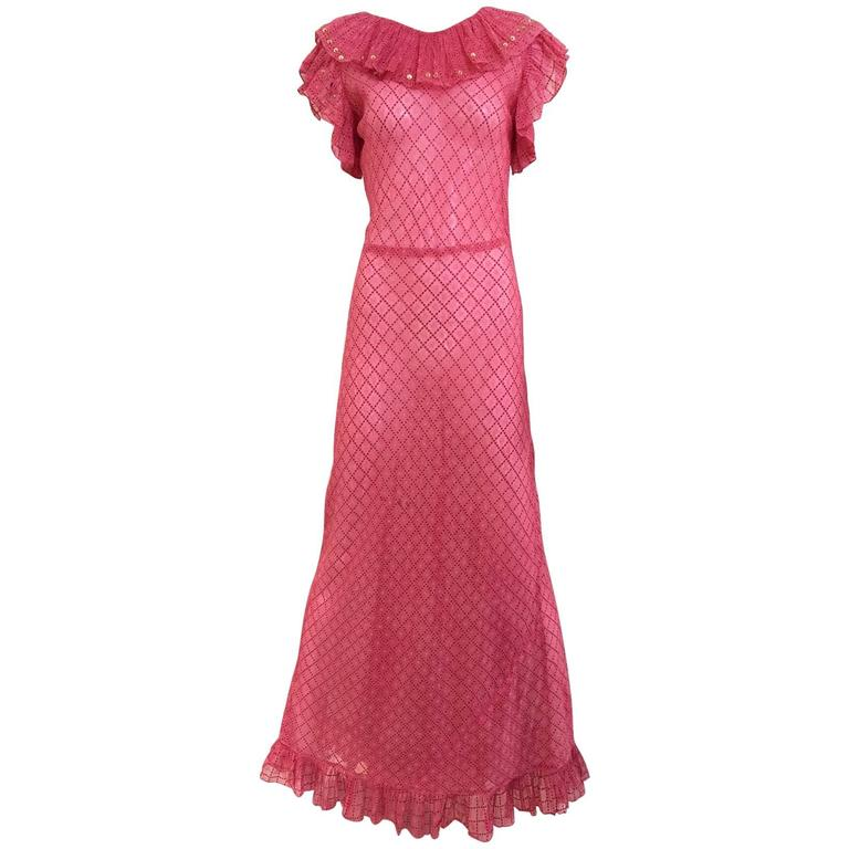 1930s Pink silk dress For Sale