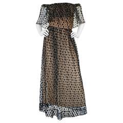 1970s Jean Louis Dotted Net & Silk Off Shoulder Dress