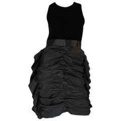 1950s Ruffled Silk Skirt & Velvet Potential Givenchy Dress